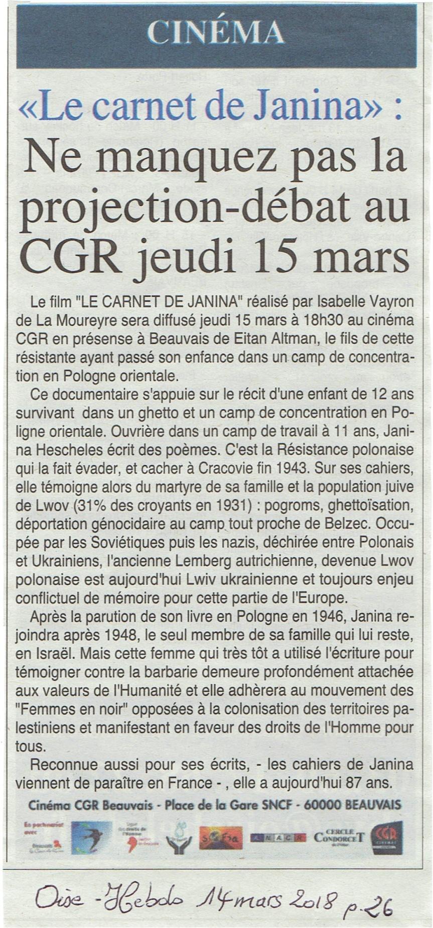 Paru mercredi 14 mars dans Oise Hebdo