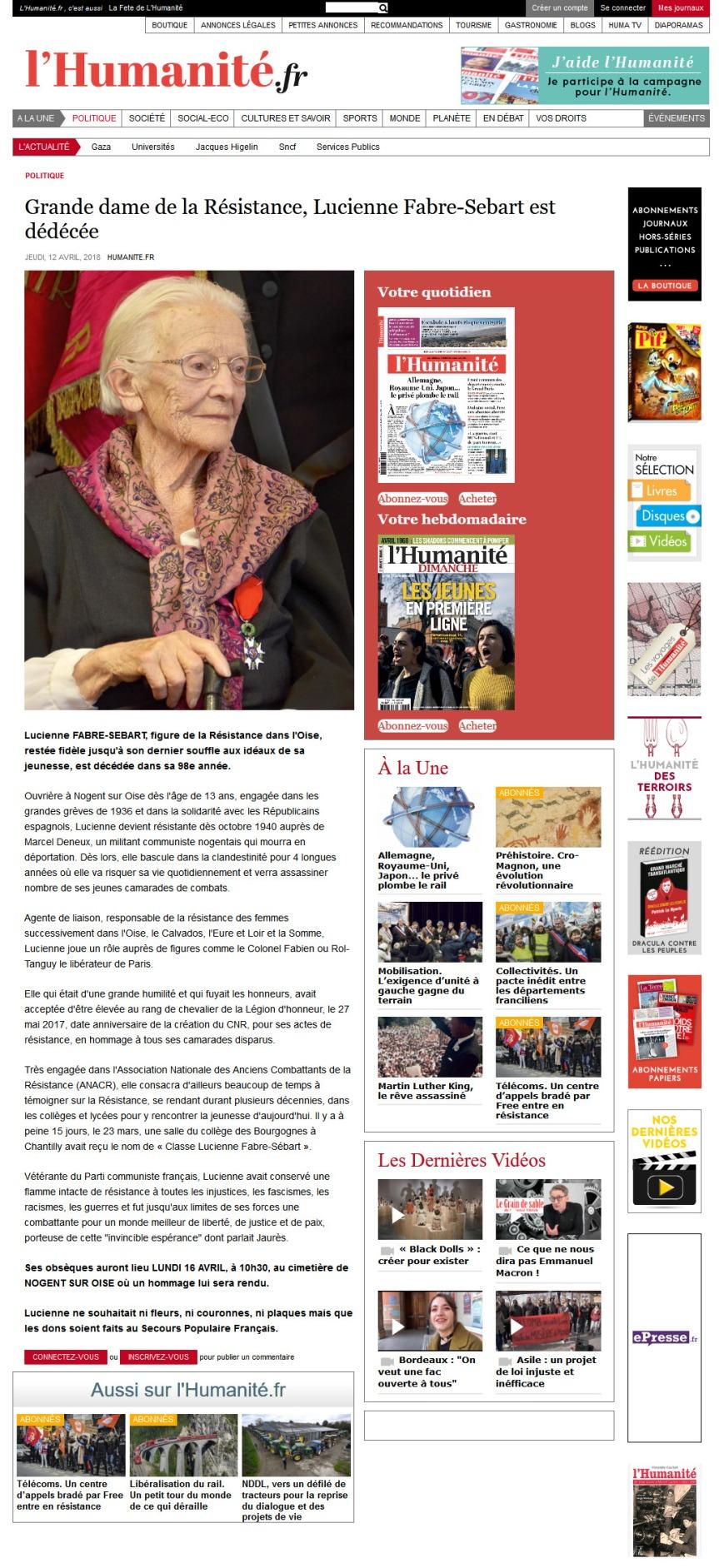 l'Humanité-12-04-2018 Grande dame de la Résistance
