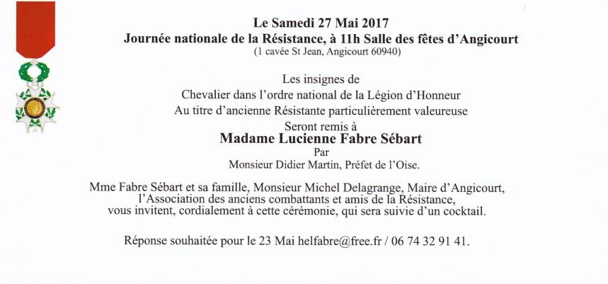 Invitation Légion d'Honneur